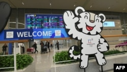 The mascot of the 2018 Pyeongchang Winter Olympics is seen at the arrival gate of Terminal 2 at Incheon International Airport, west of Seoul.
