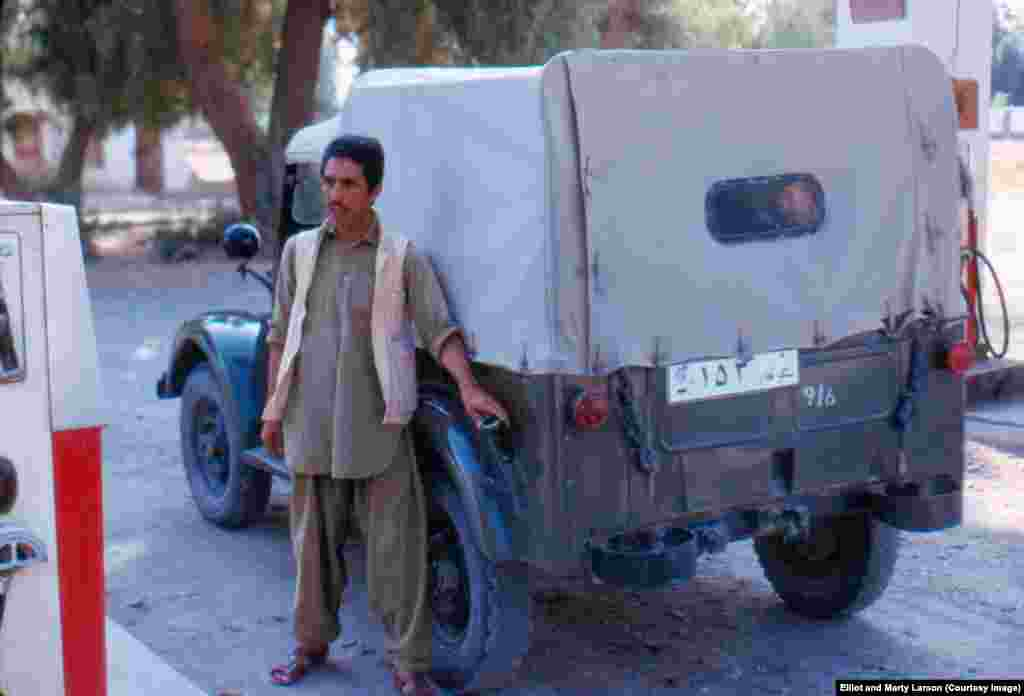 Elliot and his medical team were provided with a driver, pictured here filling up his Soviet jeep. Soviet influence in Afghanistan would became increasingly assertive until, in 1979, five years after the Larsons left the country, Soviet forces stormed the Kabul palace of communist President Hafizullah Amin.
