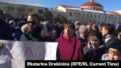 Волоколамск шаарындагы акциянын катышуучулары. 24-март, 2018-жыл.