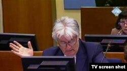 Radovan Karadžić u sudnici Tribunala pred kojim je optužen za genocid, septembar 2010