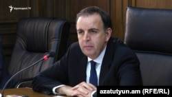 Armenia -- Deputy Foreign Minister Karen Nazarian, speaks at a meeting of an Armenian parliament committee in Yerevan, 2Nov2017