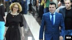 Заменик претседателката и претседателот на СДСМ, Радмила Шеќеринска и Зоран Заев на лидерска средба.