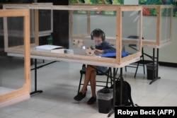 Një nxënës në SHBA mëson nga distanca.