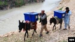 Афганцы везут на ослах избирательные урны и бюллетени для труднодоступных селений. 23 марта 2014 года.