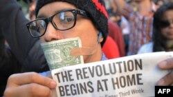Участники демонстрации в Нью-Йорке