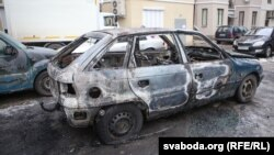 Belarus - Burnt car Opel Astra, Minsk, 05Mar2016