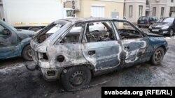 Belarus - Burnt car Opel Astra, Minsk, 05Mar2016