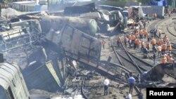 Место аварии на станции Белая Калитва Ростовской области