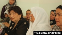 Relatives of Safarali Sangov in court in Dushanbe today.