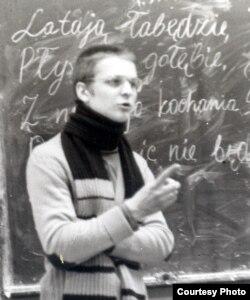 Вінцук Вінцук Вячорка праводзіць на Майстроўні моўныя заняткі. Філфак БДУ, 1981-82 навучальны год.