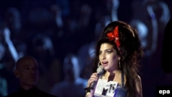 British singer Amy Winehouse at the 2007 MTV Europe Music Awards in Munich in 2007.