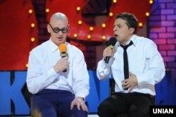 Владимир Зеленский (справа) во время съемок одной из его юмористических программ