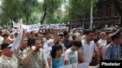 Armenia -- A protest outside parliament against a government bill on foreign-language schools, 23June 2010.