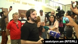 Armenia -- Areg Kyureghian speaks to reporters after being set free by a court in Yerevan, 6 June 2018.