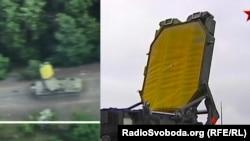Комплекс, попавший под обстрел вблизи Горловки (слева), и фрагмент техники, которую показывали на российском телеканале «Звезда»