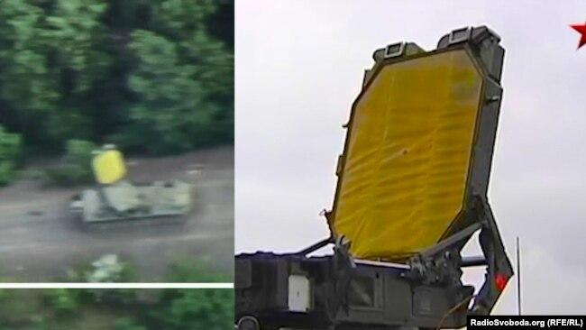 Комплекс, який потрапив під обстріл поблизу Горлівки (зліва) і фрагмент техніки, яку показували на російському телеканалі «Звезда»