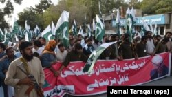 Supporters of Jamaat-ud-Dawa hold an anti-U.S. protest in the southwestern Pakistani city of Quetta, on August 28.