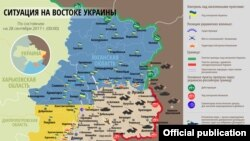 Ukraine – RUSSIAN Map: The situation in a combat zone at Donbas, 28Sep2017