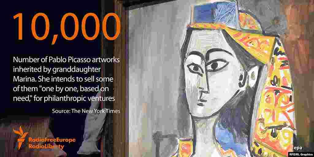 """10 тысяч - приблизительное число работ Пабло Пикассо, унаследованных его внучкой Мариной. Она намерена продавать их """"по одной"""", а вырученные средства использовать в благотворительных целях"""