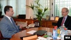 Архивска фотографија: Средба на тогашниот премиер Никола Груевски со директорот на Директоратот за проширување во Европската комисија Кристијан Даниелсон на 5 јуни 2014 година