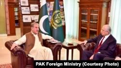 ხალილზადის შეხვედრა პაკისტანის საგარეო საქმეთა მინისტრ შაჰ მეჰმუდ ყურეშისთან