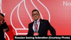 Гафур Рахимов на конгрессе Международной ассоциации любительского бокса (AIBA) в Москве, 2 ноября 2018 года.