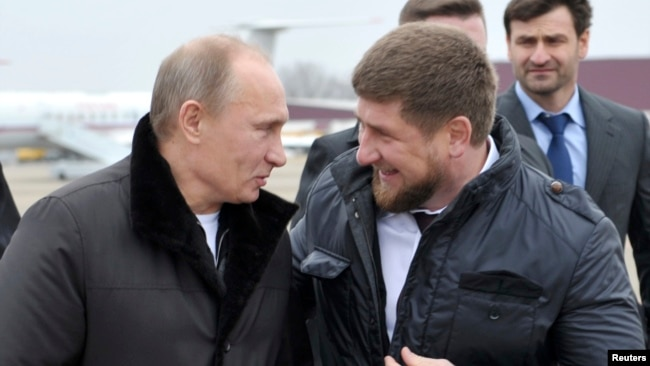 Russian President Vladimir Putin with Chechen leader Ramzan Kadyrov (file photo)