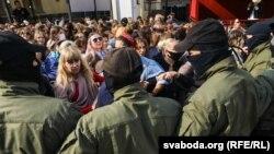 Акция протеста женщин в белорусской столице. 12 сентября 2020 года.
