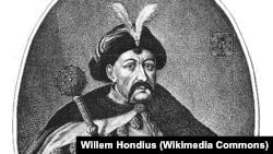 Гетьман Богдан Хмельницький на гравюрі 17-го століття роботи нідерландського майстра Вільяма Гондіуса