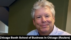 U.S. economist Richard Thaler, who has won the 2017 Nobel Economics Prize, poses in an undated photo provided by the University of Chicago Booth School of Business in Chicago, Illinois, October 9, 2017