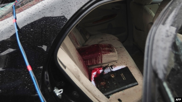 The blood-stained car of Shahbaz Bhatti who was gunned down on March 2