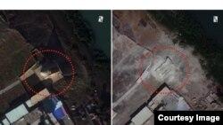 Satelitski snimak mauzoleja Al-Kasim u Mosulu prije i nakon uništavanja