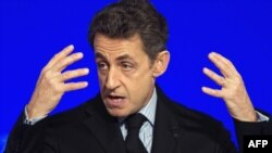 France -- President Nicolas Sarkozy delivers a speech to present his New Year wishes to the foreign diplomatic corps at the Elysee Palace in Paris, 20Jan2012