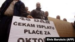 Jedan od protesta radnika Krivaje Zavidovići u Sarajevu, ilustrativna fotografija