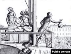 Казнь Людовика XVI: палач демонстрирует толпе отсеченную голову короля. Гравюра 1793 года