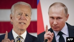 The White House said U.S. President Joe Biden (left) and his Russian counterpart, Vladimir Putin, spoke for about an hour by phone on July 9. (composite file photo)