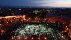 На акцию протеста в Ереване вышли десятки тысяч человек