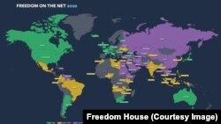 Freedom on the Net - 2020. Әлемдегі интернет еркіндігі туралы карта.