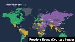 Картата на Фрийдъм хаус за свободата в интернет през 2020 г. В лилаво са несвободните страни, в зелено са свободните, а в жълто - частично свободните.