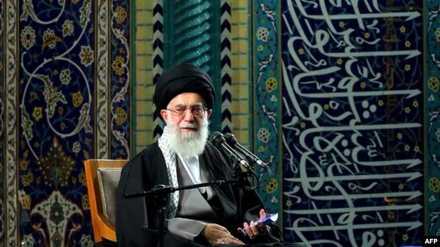 Supreme leader Ayatollah Ali Khamenei delivers a speech during a gathering of Basij in Tehran on November 20.