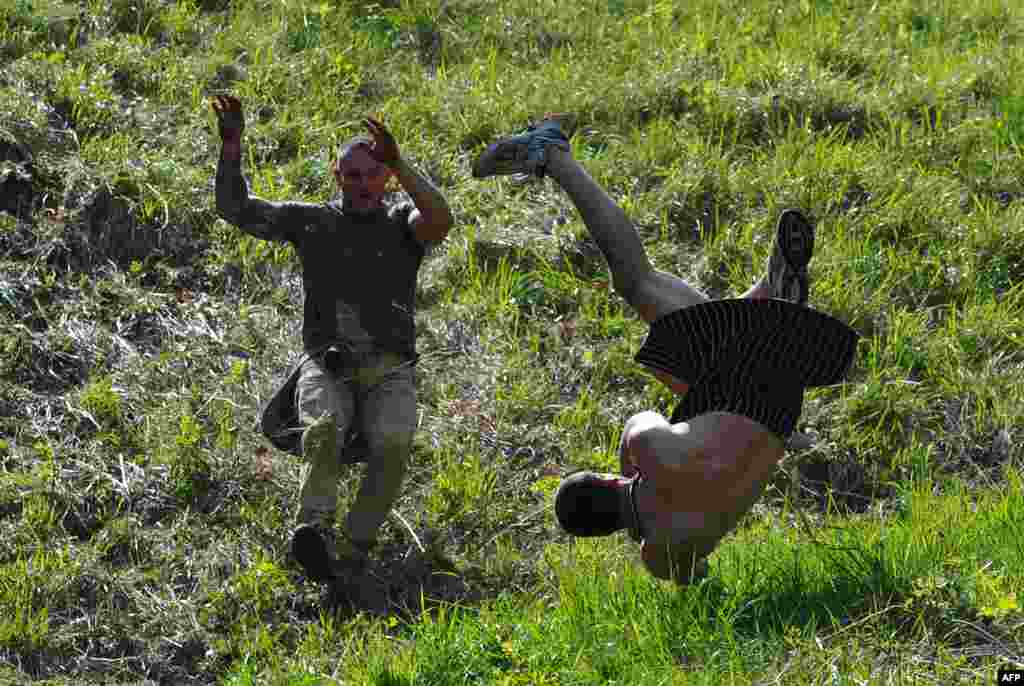 A competitor tumbles down Coopers Hill in pursuit of a fascimile round of Double Gloucester cheese during the annual cheese-rolling near the village of Brockworth in western England. With a disputed history dating back to at least the 1800s, the event involves hordes of fearless competitors chasing a large cheese down a very steep hill. (AFP/Carl Court)