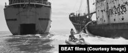 """Активисты """"Гринпис"""" у советского китобойного судна. Кадр из фильма"""