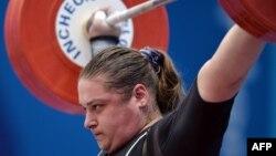 Казахстанская тяжелоатлетка Мария Грабовецкая, бронзовый призер Олимпиады в Пекине.