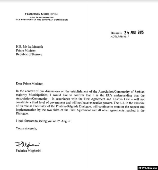 Letra e Federica Mogherinit për Asociacionin e Komunave Serbe