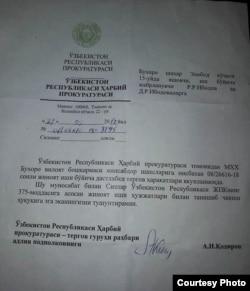 Harbiy prokuratura tomonidan Ibodovlar oilasiga yuborilgan bildirishnoma.