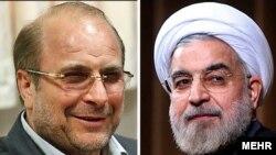 حسن روحانی (راست) و محمد باقر قالیباف