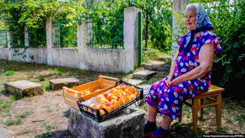В Скалистом, у дороги возле безымянной остановки, женщина продает персики