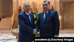 Tajikistan -- Tajik President Emomali Rahmon met Uzbek President Islam Karimov, Dushanbe, 11.09.2014 Photo from president.tj