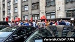 Акция против повышения пенсионного возраста у Госдумы, 19 июля 2018 года