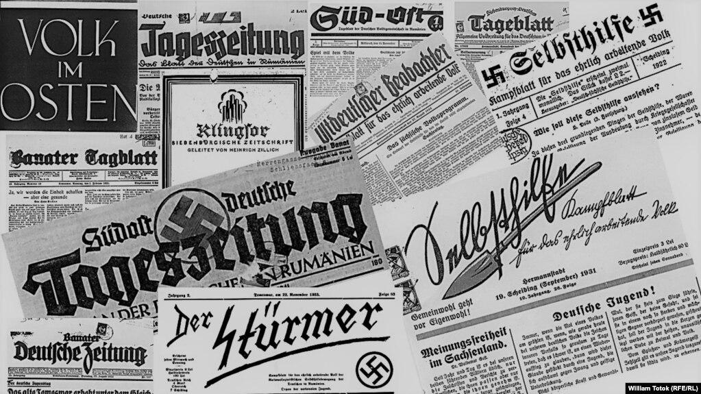 Presa etnocentristă germană din România, 1922-1944 (Colaj: William Totok)